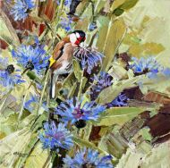Goldfinch & Cornflowers